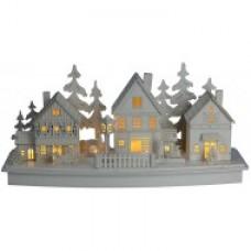 Houten kerstdorp met LED verlichting